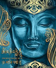 Obraz buddha om mani padme hum - fototapety do salonu