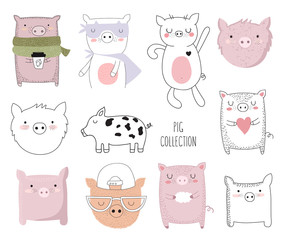 Vector collection of cute doodle pig. Adorable objects isolated on background