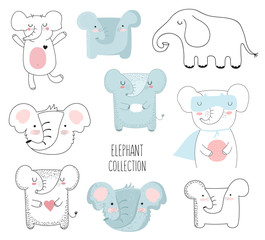 Vector collection of cute doodle elephant. Adorable objects isolated on background