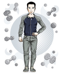 Handsome brunet young man is standing on simple background with dumbbells and barbells. Vector illustration of sportsman.  Active and healthy lifestyle theme cartoon.