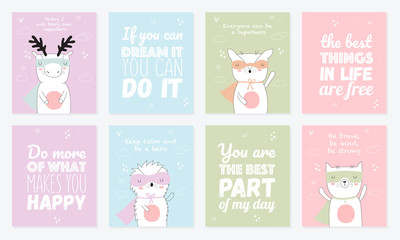 Vector postcard collection with superhero animals and cool slogan
