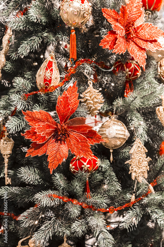 christmas and new year vertical background christmas tree decorated for celebration