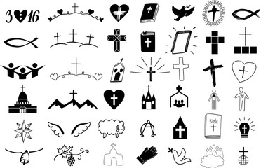 Set of 42 christian icons .
