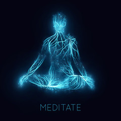 Vector concept of human meditaion. Sacral energy flows through prayer body on his way to enlightment. Yoga pose of relaxation. Asian spiritual practice. Magical glowing energy routes and spakrs.
