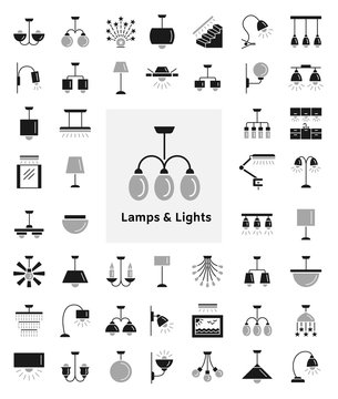 Different kinds of wall, ceiling, table and floor lamps. Modern light fixtures. Home lighting. Flat icon collection.