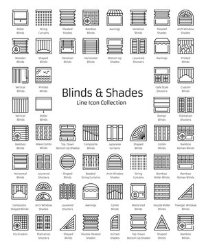 Blinds & Shades. Window shutters & panel curtains. Home decor elements. Window coverings. Line icon collection.