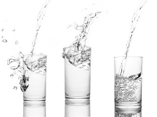 Set, Water poured in  glass transparent white background