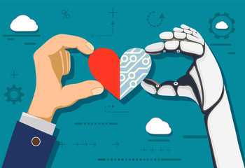 Human hand and a robot holding heart.