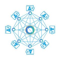 Concept of Ontology Coin or ONT, a Cryptocurrency blockchain platform , Digital money