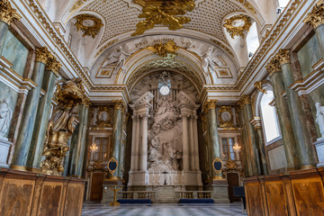 STOCKHOLM, SWEDEN - July 7, 2018 : The beautiful interior of Royal Chapel in the Sweden Royal Palace