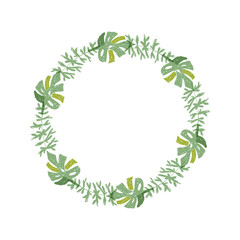 Hand drawn tropical flower composition, greenery botanical wreath. Vector illustration isolated on white background. Floral jungle paradise, exotic plant leaf border