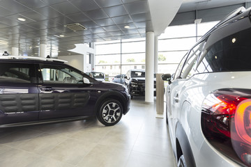 Luxury cars for sale in a exclusive dealing salon
