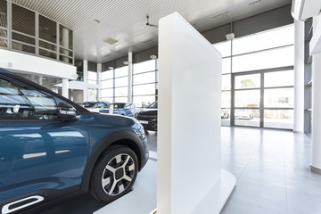 Car showroom with expensive vehicles for sale and rent
