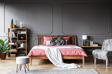 Modern grey and pink bedroom
