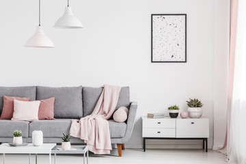 Poster above cabinet with plants in white flat interior with pink blanket on grey couch. Real photo
