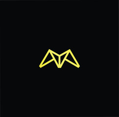 Initial letter M MM minimalist art monogram shape logo, gold color on black background