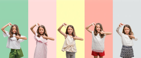 Collage of brunette hispanic girl wearing different outfits smiling making frame with hands and fingers with happy face. Creativity and photography concept.
