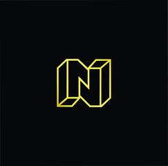Initial letter N NN minimalist art monogram shape logo, gold color on black background