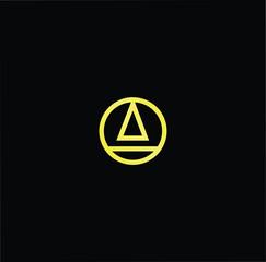 Initial letter A AO OA minimalist art monogram shape logo, gold color on black background