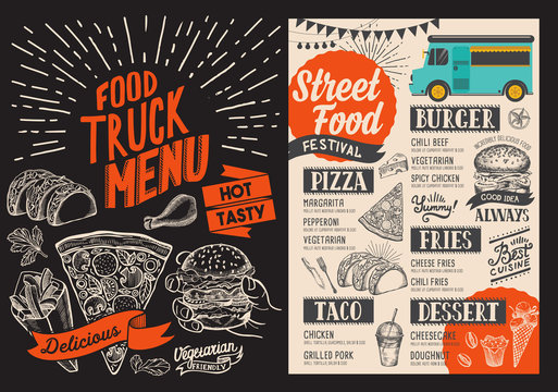 Food truck menu for street fest. Design template with hand-drawn graphic illustrations.
