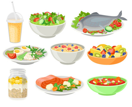 Delicious and fresh dishes set, healthy eating concept vector Illustrations on a white background