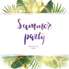 Green summer tropical background with exotic palm leaves, plants and yellow flowers. Vector floral background.