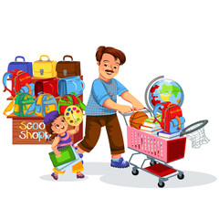 School shopping with dad poster