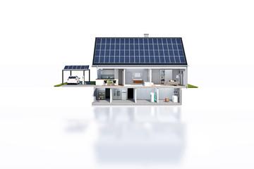 Geschnittenes Haus Technik Solar frontal