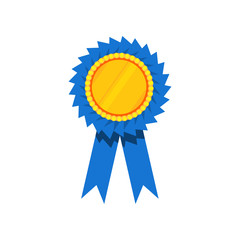Blue ribbon award, blank golden rosette. Prize for winner. Decorative flat vector element for certificate or diploma