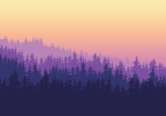 Coniferous forest with several layers under a purple yellow sky at dawn or sunset -  with space for your text