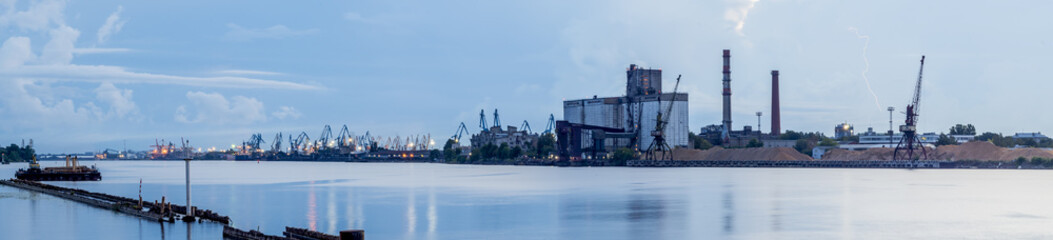 Panorama of marine port in Riga - the capital of Latvia and famous Baltic marine port in East Europe