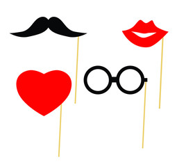 Party elements lips and heart glasses