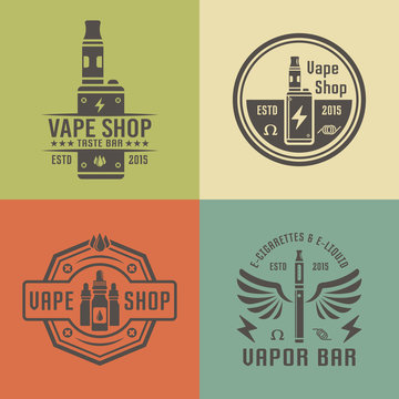 Vape shop and electronic cigarette vector emblems
