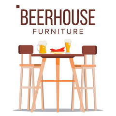Beer House Furniture Vector. Pub. Beery Party Design Element. Brewery Wooden Table, Chairs, Beer Mug. Isolated Flat Illustration
