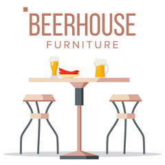 Beer House Furniture Vector. Brewery Wooden Table, Chairs, Beer Mug. Bar. Alcohol Party Design Element. Isolated Flat Illustration