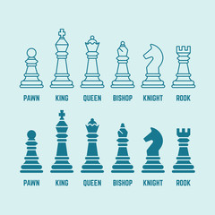 Chess pieces vector outline and silhouette icons