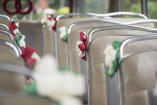 decorated oldtimer bus at wedding