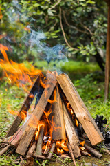 Bonfire triangle with dry woods.