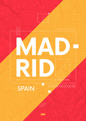 Typography graphics color poster with a map of Madrid, Vector travel illustration
