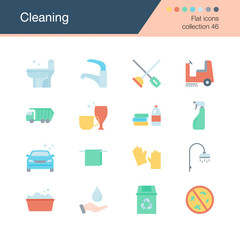 Cleaning icons.Flat design collection 46. For presentation, graphic design, mobile application, web design, infographics.