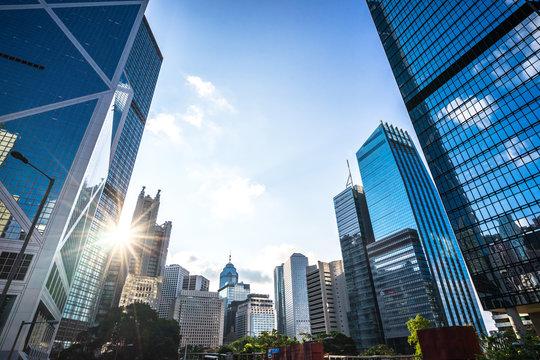 modern office building in hong kong china
