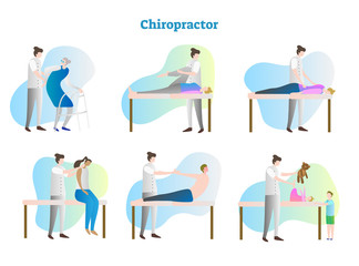 Chiropractor vector illustration collection set. Doctor, therapist, nurse or masseur exam sick person in hospital or clinic. Isolated muscles and bones rehabilitation.