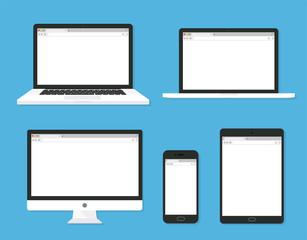 Obraz Set of monitor, laptop, tablet, smartphone open blank browser. flat style - stock vector. - fototapety do salonu