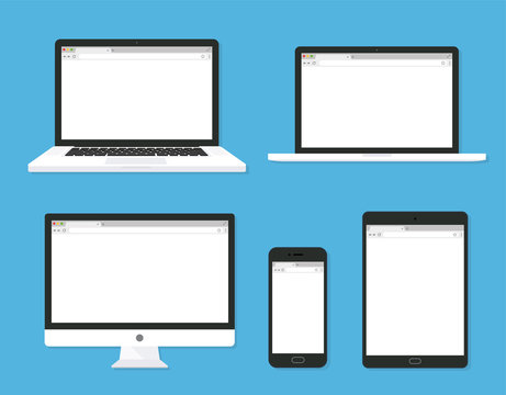 Set of monitor, laptop, tablet, smartphone open blank browser. flat style - stock vector.