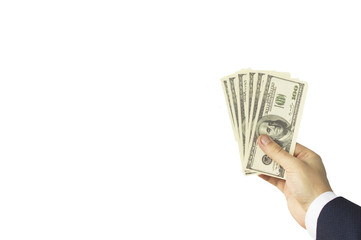 Man's hand in a jacket with dollars money, white background, dollars, copy space