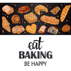 Decor for a shop or cafe with pastries, bread, baking. Bakery store, bread house, handwritten illustration with lettering. Signboard, vector