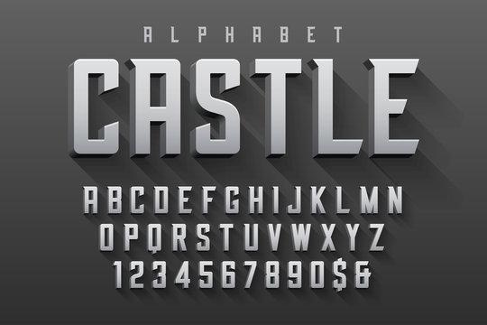 Vector condensed original display font design, alphabet