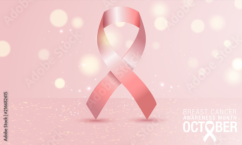 34ec886bb09 Breast cancer day card with ribbon icon on pink background