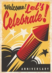 Anniversary celebration retro poster or invitation design template with red fireworks rocket on yellow background.