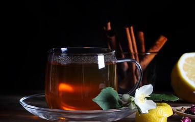 Printed roller blinds Tea чай горячий напиток стоит на столе